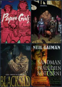 Paper Girls, Marvel Original Sin, Blacksad, Sandman